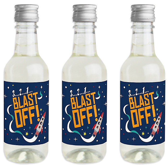 Blast Off to Outer Space - Mini Wine and Champagne Bottle Label Stickers - Rocket Ship Baby Shower or Birthday Party Favor Gift - For Women and Men - Set of 16