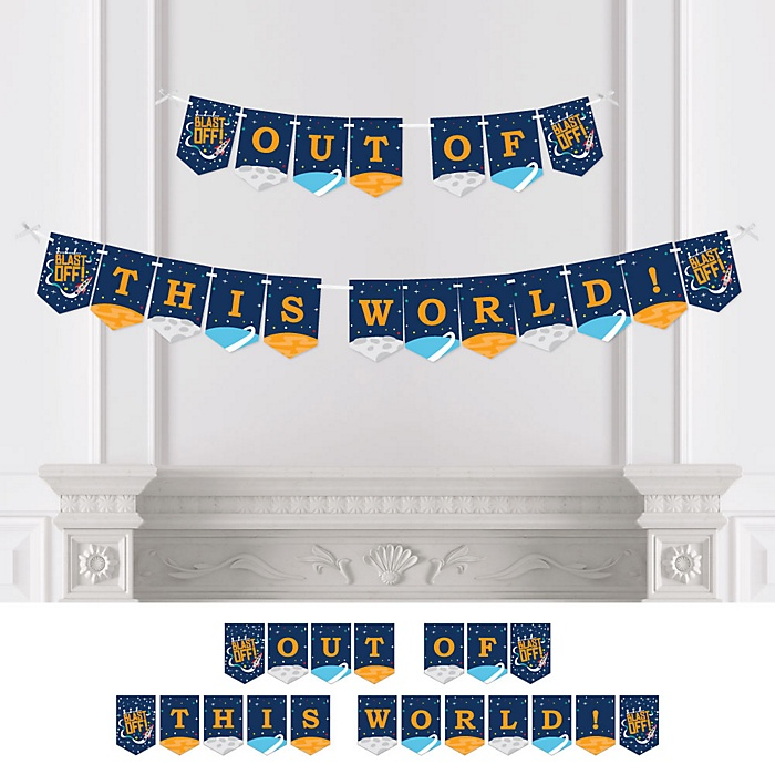 Blast Off to Outer Space - Rocket Ship Baby Shower or Birthday Party Bunting Banner - Party Decorations - Out of This World