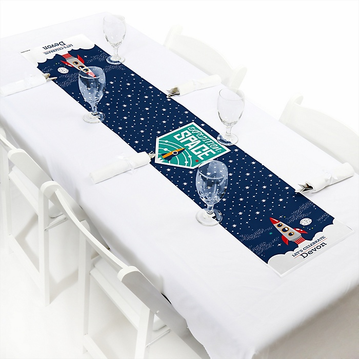 Blast Off to Outer Space - Personalized Rocket Ship Party Petite Table Runner
