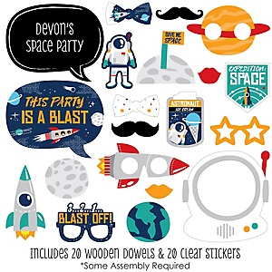 Blast Off to Outer Space - 20 Piece Rocket Ship Baby Shower or Birthday Party Photo Booth Props Kit