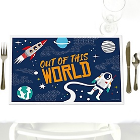 Blast Off to Outer Space - Rocket Ship - Party Table Decorations - Party Placemats - Set of 12