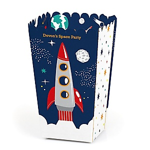 Blast Off to Outer Space - Personalized Rocket Ship Baby Shower or Birthday Party Favor Popcorn Treat Boxes - Set of 12