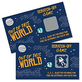 Blast Off to Outer Space - Rocket Ship Baby Shower or Birthday Party Game Scratch Off Cards - 22 ct