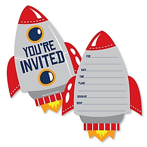 Blast Off to Outer Space - Shaped Fill-In Invitations - Rocket Ship Baby Shower or Birthday Party Invitation Cards with Envelopes - Set of 12