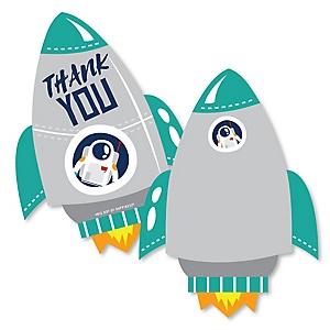 Blast Off to Outer Space - Shaped Thank You Cards - Rocket Ship Baby Shower or Birthday Party Thank You Note Cards with Envelopes - Set of 12
