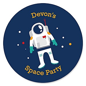 Blast Off to Outer Space - Personalized Rocket Ship Baby Shower or Birthday Party Sticker Labels - 24 ct