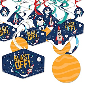 Blast Off to Outer Space - Rocket Ship Baby Shower or Birthday Party Hanging Decor - Party Decoration Swirls - Set of 40