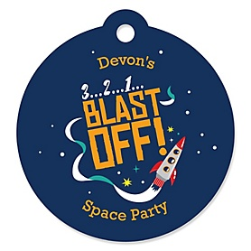 Blast Off to Outer Space - Round Personalized Rocket Ship Party Tags - 20 ct
