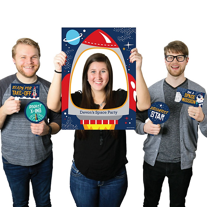 Blast Off to Outer Space - Personalized Rocket Ship Baby Shower or Birthday Party Selfie Photo Booth Picture Frame and Props - Printed on Sturdy Material