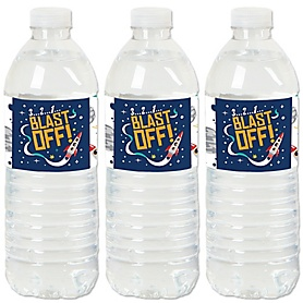 Blast Off to Outer Space - Rocket Ship - Party Water Bottle Sticker Labels - Set of 20
