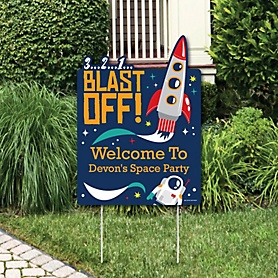 Blast Off to Outer Space - Party Decorations - Rocket Ship Baby Shower or Birthday Party Personalized Welcome Yard Sign