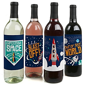 Blast Off to Outer Space - Rocket Ship Birthday Party Decorations for Women and Men - Wine Bottle Label Stickers - Set of 4