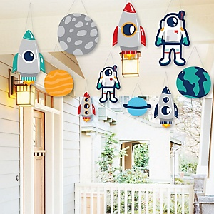 Hanging Blast Off to Outer Space - Outdoor Rocket Ship Baby Shower or Birthday Party Hanging Porch and Tree Yard Decorations - 10 Pieces