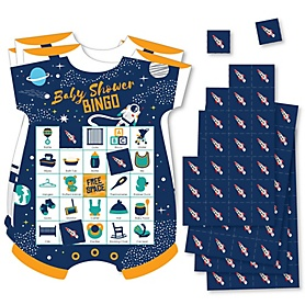 Blast Off to Outer Space - Picture Bingo Cards and Markers - Rocket Ship Baby Shower Shaped Bingo Game - Set of 18