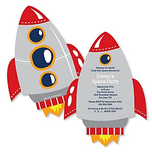 Blast Off to Outer Space - Shaped Rocket Ship Baby Shower invitations - Set of 12