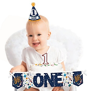 Blast Off to Outer Space 1st Birthday - First Birthday Girl Smash Cake Decorating Kit - High Chair Decorations