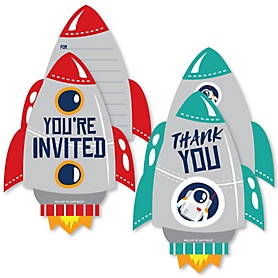 Blast Off to Outer Space - 20 Shaped Fill-In Invitations and 20 Shaped Thank You Cards Kit - Rocket Ship Baby Shower or Birthday Party Stationery Kit - 40 Pack