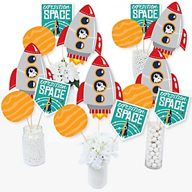 Blast Off to Outer Space - Rocket Ship Baby Shower or Birthday Party Centerpiece Sticks - Table Toppers - Set of 15