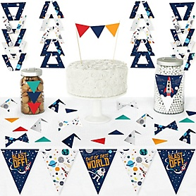 Blast Off to Outer Space - DIY Pennant Banner Decorations - Rocket Ship Baby Shower or Birthday Party Triangle Kit - 99 Pieces