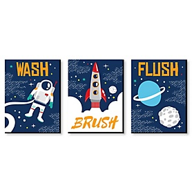 Blast Off to Outer Space - Kids Bathroom Rules Wall Art - 7.5 x 10 inches - Set of 3 Signs - Wash, Brush, Flush