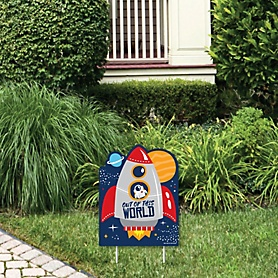 Blast Off to Outer Space - Outdoor Lawn Sign - Rocket Ship Baby Shower or Birthday Party Yard Sign - 1 Piece