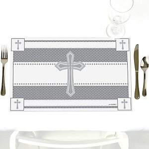 Delicate Blessings Cross - Party Table Decorations - Baptism Placemats - Set of 12