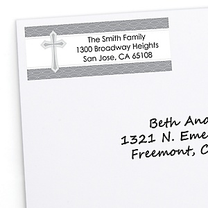 Delicate Blessings Cross - Personalized Baptism Return Address Labels - 30 ct