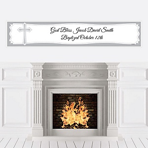 Delicate Blessings Cross - Personalized Baptism Banners