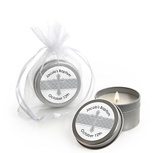 Delicate Blessings Cross - Personalized Baptism Candle Tin Favors - Set of 12