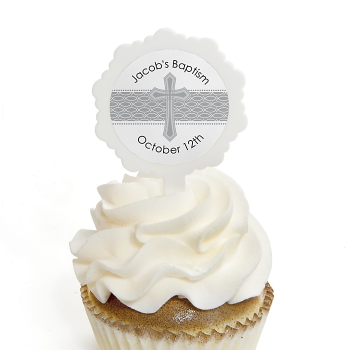 Delicate Blessings Cross - Personalized Baptism Cupcake Picks and Sticker Kit - 12 ct