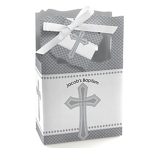 Delicate Blessings Cross - Personalized Baptism Favor Boxes - Set of 12