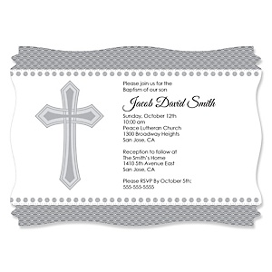Delicate Blessings Cross - Personalized Baptism Invitations - Set of 12