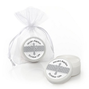 Delicate Blessings Cross - Personalized Baptism Lip Balm Favors - Set of 12