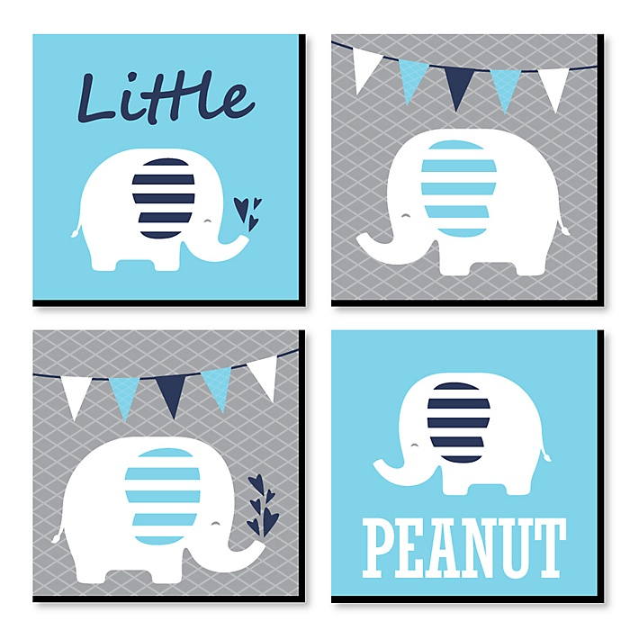 Blue Baby Elephant - Nursery Decor - 11 x 11 inches Kids Wall Art - Baby Shower Gift Ideas - Set of 4 Prints for Baby's Room