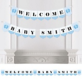 Baby Feet Blue - Personalized Baby Shower Bunting Banner