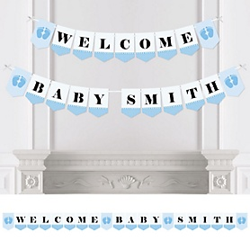 Baby Feet Blue - Personalized Baby Shower Bunting Banner & Decorations
