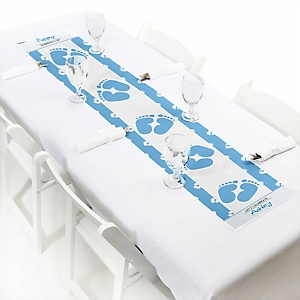 Baby Feet Blue - Personalized Baby Shower Petite Table Runner