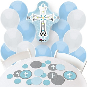 Little Miracle Boy Blue & Gray Cross - Confetti and Balloon Party Decorations - Combo Kit