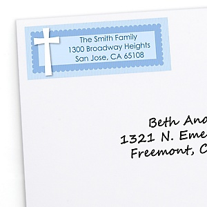 Delicate Blue Cross - Personalized Baptism Return Address Labels - 30 ct