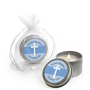 Delicate Blue Cross - Personalized Baptism Candle Tin Favors - Set of 12