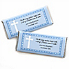 Delicate Blue Cross - Personalized Baptism Candy Bar Wrapper Favors