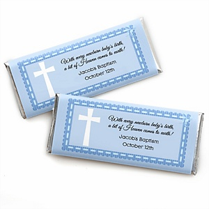 Delicate Blue Cross - Personalized Candy Bar Wrappers Baptism Party Favors - Set of 24