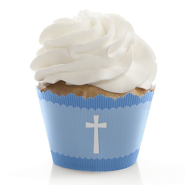 Delicate Blue Cross - Baptism Wrappers & Decorations