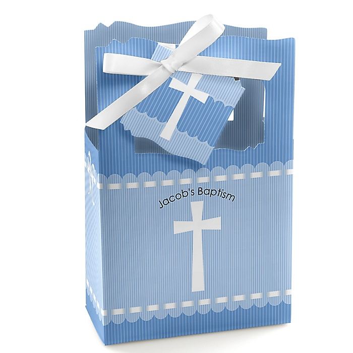 Delicate Blue Cross - Personalized Baptism Favor Boxes - Set of 12
