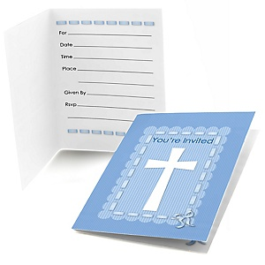 Delicate Blue Cross - Baptism Fill In Invitations - 8 ct