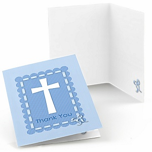 Delicate Blue Cross - Baptism Thank You Cards - 8 ct