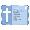 Delicate Blue Cross - Personalized Baptism Invitations