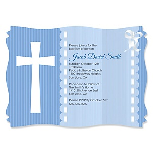 Delicate Blue Cross - Personalized Baptism Invitations - Set of 12