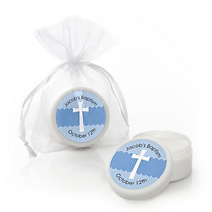 Delicate Blue Cross - Personalized Baptism Lip Balm Favors - Set of 12