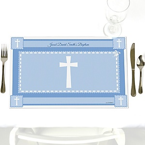 Delicate Blue Cross - Party Table Decorations - Personalized Baptism Placemats - Set of 12